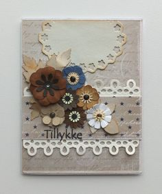 Tag card homemade punched flowers flower leaves leaf, lace border, Maja Design Life by the Sea paper pad - JKE