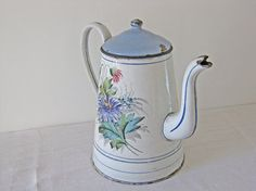 French enamel coffee pot with handpainted flowers