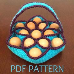 Crochet Pattern for Baker's Dozen Egg Basket by Sunchasing on Etsy