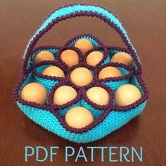 Crochet Pattern for Baker's Dozen Egg Basket by Sunchasing on Etsy