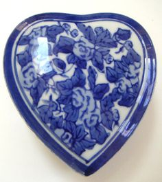 Vintage Flow Blue Heart Shaped Porcelain Box/Jewelry by QVintage, $45.00