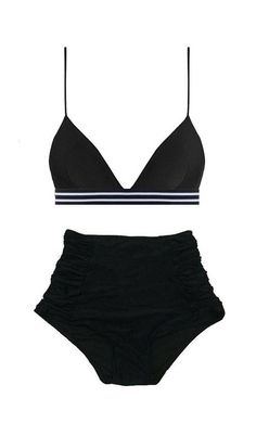 Black Triangle Tri Elastic Top and Ruched High waist waisted