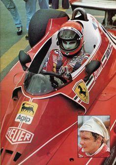 1976 Ferrari Niki Lauda, at either the 1977 Argentina GP or 1977 Brasil GP Ferrari World, Ferrari F1, Formula 1 Car, F1 Racing, Car And Driver, Vintage Racing, Fast Cars, Sport Cars, Grand Prix