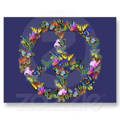 Butterfly Peace Symbol Postcards from Zazzle.com