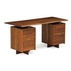 "GEORGE NAKASHIMA (1905 - 1990); NAKASHIMA STUDIO Estimate: $20,000 - $30,000 Double pedestal desk, New Hope, PA, 1977 Walnut Signed with client name 29"" x 60"" x 27"" Provenance: Copy of original sketch."