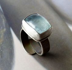 Aquamarine silver ring handcrafted cocktail ring metalwork by Mirma, $89.00