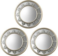 JCP Set of 3 Skyline Bordered Round Wall Mirrors