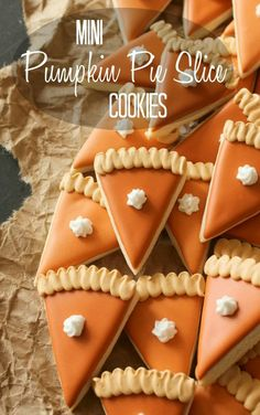 These cute mini pumpkin pie slice cookies are easy to snack on and will give your Thanksgiving dessert table some pizzazz. These cute mini pumpkin pie slice cookies are easy to snack on and will give your Thanksgiving dessert table some pizzazz. Thanksgiving Cookies, Fall Cookies, Thanksgiving Traditions, Thanksgiving Recipes, Fall Recipes, Holiday Recipes, Pumpkin Cookies, Thanksgiving Decorations, Iced Cookies