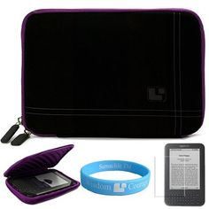 Black with Purple Trim Protective Nubuck Carrying Sleeve with Zippered Accessory Pocket for Amazon Kindle 3 Wireless Reading Device 6 Inch LCD Display Screen + Screen Protector for Kindle 3 + SumacLife TM Wisdom*Courage Wristband by Bestpriceshop. $16.99. Carry your Kindle 3 with ease and comfort with our stylish sleeves, which are water and scratch resistant. Padding protects your device from bumps, scratches, and every day wear and tear. Zipper opening allows quick a...