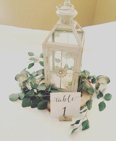 small lantern with loose euc 'garland'