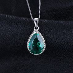 Necklaces, Pendants, Pear 3.7ct Simulated Green Nano Russian Emerald Pendant Necklace 925 Sterling Silver 18 Inches - C112GOONUH7  #NECKLACES #women #jewelry #outfits #Pendants Emerald Pendant, Pear, 18th, Women Jewelry, Pendants, Necklaces, Pendant Necklace, Sterling Silver, Green