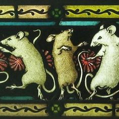 Dancing Mice With Frog Stained Glass by David Fode