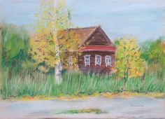 In the remote village Nagaya sloboda in the Yaroslavl region among the woods where almost no human foot has ever stepped, stands this old house. In autumn it looks especially beautiful. This painting will be a great gift!  Size: 35 х 25 cm.  The picture drawn with pastels on pastel paper.