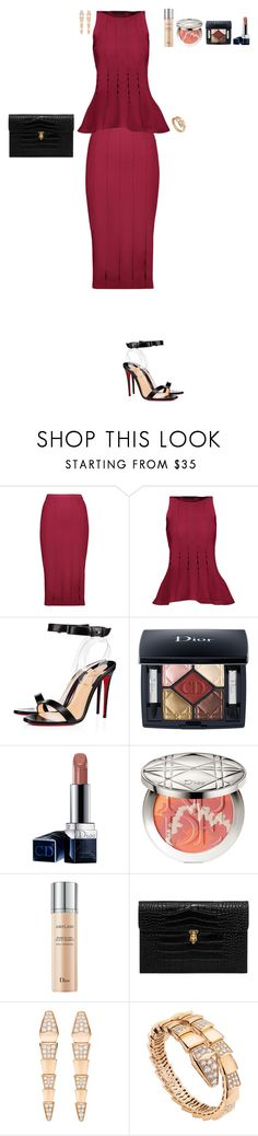 """""""Wine can be hot"""" by stylev ❤ liked on Polyvore featuring Cushnie Et Ochs, Christian Louboutin, Christian Dior, Alexander McQueen and Bulgari"""