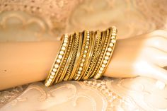 Antique Gold Diamante Pearl Bollywood Indian Bangle by Silk Bangles, Bridal Bangles, Thread Bangles, Jewelry Design Earrings, Gold Earrings Designs, Women's Jewelry, Antique Jewelry, Handmade Jewelry, Pakistani Jewelry