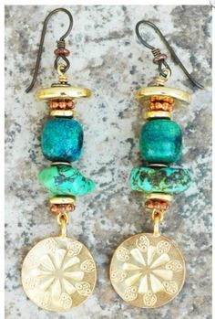 Turquoise and gold medallions