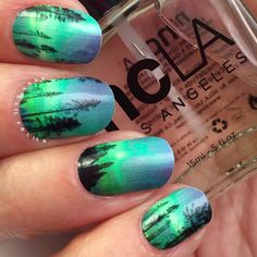 Alaska nail graphics forest sky skyline green blue aqua galaxy nails. The Northern Lights nail art nail design