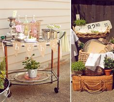 """BeBe"" Baby in French Vintage Cart! At French Bistro Inspired Baby Shower By Double Take Event Styling!"
