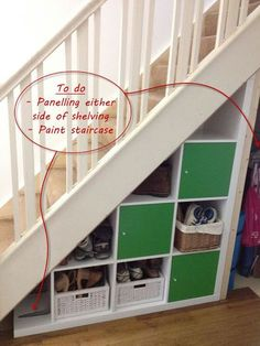 Expedit under-stairs storage - IKEA Hackers A clever idea to utilize the space below the staircase! IKEA Hackers: Expedit under-stairs storage Under Stairs Storage Ikea, Space Under Stairs, Staircase Storage, Under Stairs Cupboard, Stair Storage, Ikea Storage, Storage Ideas, Under Steps Storage, Open Staircase