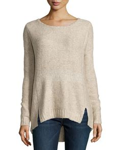 Marbled Knit Back-Zip Tunic Sweater, Oatmeal by Line at Neiman Marcus Last Call. $74.50