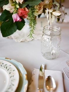 mason jars with striped straws! | 509 Photo