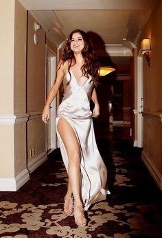 Selena Gomez in silk evening gown dress