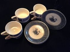 Royal Currier and Ives cups and saucers, blue & off white, Tribute to USA