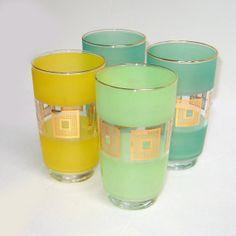 Pastel Gold  Mid Century Tumblers Set 4 Vintage Glass
