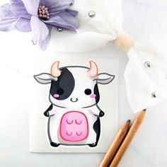 Kawaii chibi baby cow sticker - cute art farm animal planner stationery – MadModesty #kawaiistationery #kawaiisticker #cutesticker #cutestationery #stickeraddict #stickerfan #ilovestickers #kawaiianimal #cuteanimals #babycow #chibicow Kawaii Chibi, Cute Chibi, Kawaii Art, Kawaii Stickers, Cute Stickers, Kawaii Drawings, Cute Drawings, Pastel Home Decor, Baby Cows