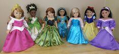 Handmade Princess outfits for American Girl and dolls. American Girl Doll Gymnastics, American Girl Mckenna, Custom American Girl Dolls, American Girl Clothes, Girl Doll Clothes, Disney Princess Dresses, Princess Outfits, Doll Fancy Dress, America Girl