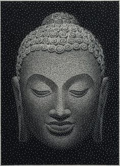 """""""Patience is the calm acceptance that things can happen in a different order than the one you have in mind. Artist: Kumi Yamashita Unveils Latest Artwork Made from a Single, Unbroken Thread lis Buddha Kunst, Buddha Art, Kumi Yamashita, Buda Zen, Stippling Art, Buddha Painting, Buddha Buddhism, Constellation, Recycled Art"""