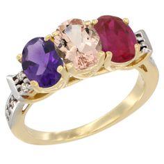 Morganite 3-Stone Rings - 14K Yellow GOld Diamond Jewelry - Affor Price: Contact Us