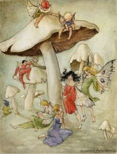"Such sweetness ""Mushroom Hill,"" by Florence Mary Anderson. Florence Mary Anderson – was an English artist, book illustrator, wood engraver and children's author who flourished between 1914 and Kobold, Alberto Giacometti, Fairy Pictures, Vintage Fairies, Vintage Art, Mushroom Art, Love Fairy, Flower Fairies, Fairy Art"