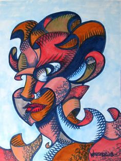 Mark Webster - Abstract Geometric Futurist Portrait Ink Drawing