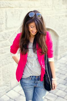 Graphic tee, bright blazer and boyfriends   Style Crush: Mimi Ikonn on Yours Truly