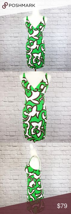ee93e48fa4742 Milly green white brown v-neck sleeveless dress Milly dress in an abstract  floral print