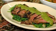 Grilled Steak with Pablano Sauce and Sauteed Spinach