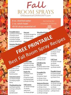 recipes for 20 fall diffuser blends -- easy, non-toxic ways to make your home smell like fall using essential oils Essential Oils For Nausea, Fall Essential Oils, Essential Oils Room Spray, Ginger Essential Oil, Patchouli Essential Oil, Essential Oil Diffuser Blends, Essential Oil Uses, Cedarwood Oil, Diffuser Recipes