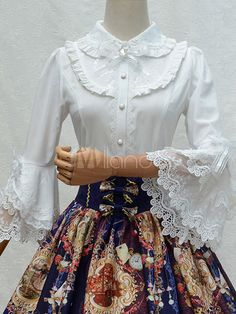 Cheap ladies shirts, Buy Quality women shirts directly from China shirt top Suppliers: Classic White Black Women's Shirt Tops Vintage Lolita Flare Sleeve Peter Pan Collar Blouse Cotton Lace Elegant Lady Shirts Tops Vintage, Blouse Vintage, Victorian Shirt, Peter Pan Collar Blouse, Lolita Dress, Cotton Blouses, Lolita Fashion, Clothing Patterns, Blouse Designs