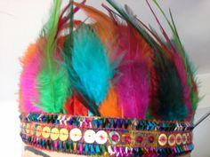 Festival Feather Headdress/ Boho chic Headband/ Muti Indian Feather Headdress