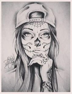 black and white sugar skull girl tattoo Chicano Tattoos, Arm Tattoos, Body Art Tattoos, Sleeve Tattoos, Celtic Tattoos, Tattoo Arm, Tatoos, Sugar Skull Mädchen, Sugar Skull Girl Tattoo