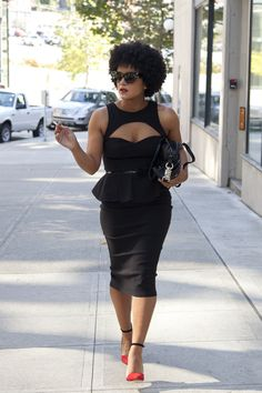 dress: Asos / heels: Zara / glasses: vintage thrift (Ballard Vintage Mall) / bag: Rebecca Minkoff MAB  #Blackfashion OnFacebookTwitter@BlackFashionbyj