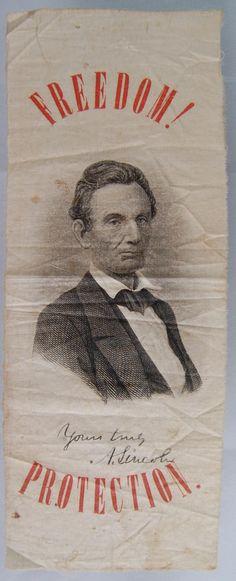 Abraham Lincoln ribbon, 1860. *s*