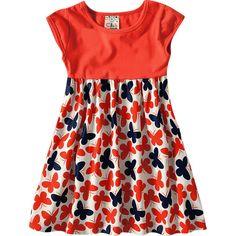 Vestido Infantil Estampa Borboleta Verão Laranja - Brandili :: 764 Kids | Roupa bebê e infantil