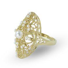 Imperial Pearl: 5-5.5mm Akoya Pearl, Seed Pearl & Diamond Vintage Ring