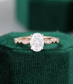Oval Moissanite engagement ring rose gold unique vintage engagement ring for women Antique diamond Wedding Milgrain Bridal Anniversary gift