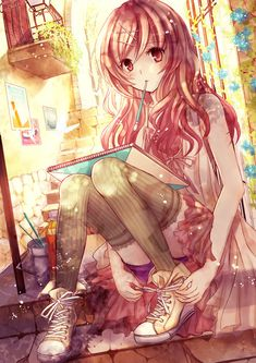 ✮ ANIME ART ✮ anime. . .artist. . .sketchbook. . .paintbrush. . .dress. . .converse. . .thigh high stockings. . .cute. . .kawaii