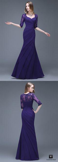 Elegant chiffon sweetheart neckline full-length mermaid evening dresses. Stunning and gorgeous! (SOD94776) - Adasbridal.com
