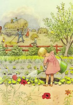 A July vegetable garden (sigh!), delightful image from Swedish Illustrator, Elsa Beskow. Elsa Beskow, Gravure Illustration, Children's Book Illustration, Vintage Images, Vintage Art, Pulp Fiction, Vintage Children, Illustrators, Book Art