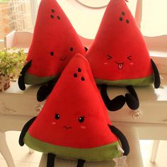 Cartoon watermelon plush pillow fruit kaozhen cushion plush toy doll Stuffed Toys